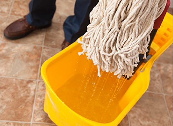 Microfibre mop dunked in cleaner