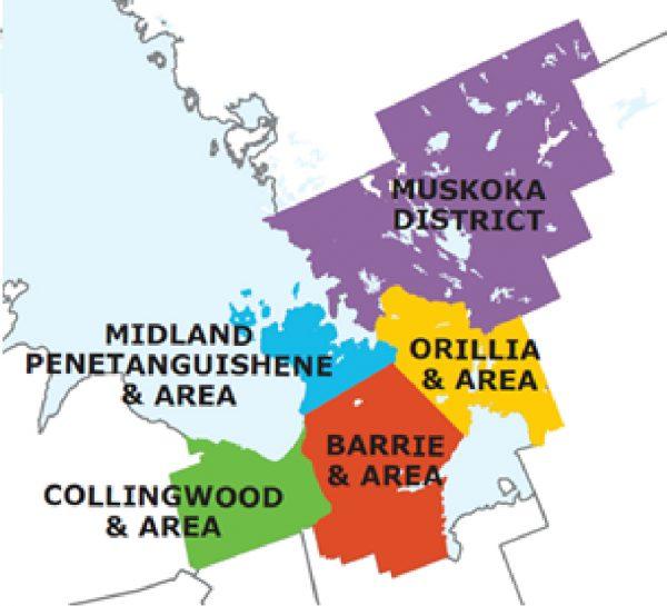 Service areas location map, Muskoka District, Orillia & Area, Midland Penetanguishene & Area, Barrie & Area, Collingwood & Area