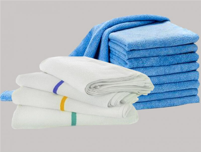 Stack of bar towels and stack of microfibre towels