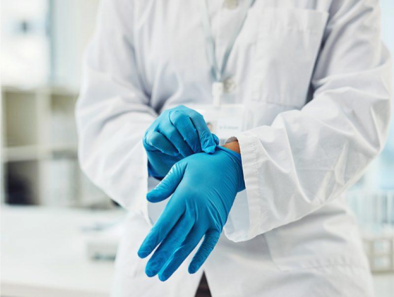 Blue nitrile medical gloves