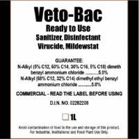 veto-bac ready to use sanitizer, disinfectant virucide, mildewstat
