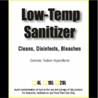 Low-temp sanitizer, cleans, disinfects, bleaches